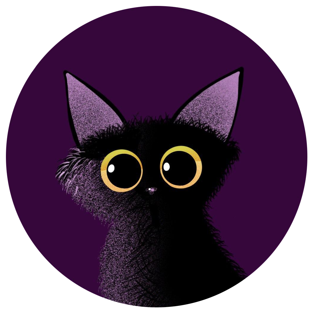 cartoon black cat on purple background drawn with procreate on iPad Pro